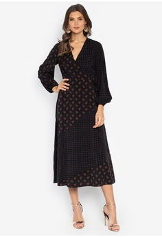 2a4f2b4a5c4 WAREHOUSE black Heart Print Wrap Midi Dress 40EF5AA3145D43GS 1