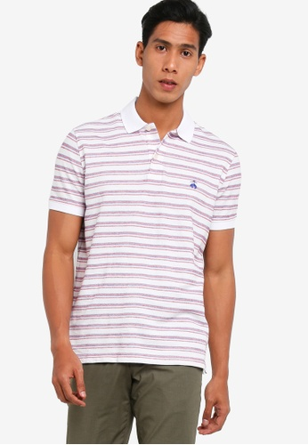 Brooks Brothers white and red Slim Fit Cotton Linen Watercolor Stripe Polo Shirt 894E6AADD5D25BGS_1