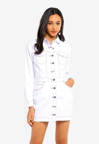 3a7926b3fb6 Petite Button Contrast Stitch Denim Dress