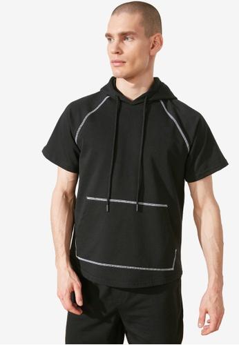Trendyol black Short Sleeve Hoodie 8E246AA683DA0DGS_1