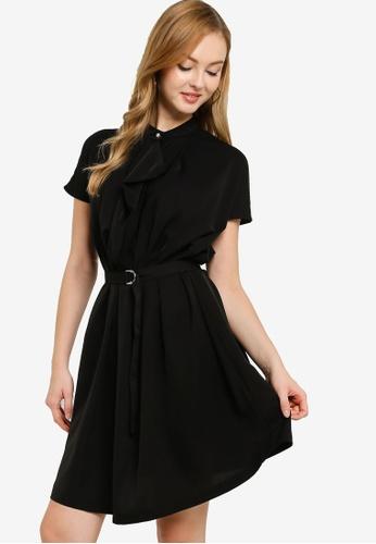 ZALORA WORK black High Neck Self Tie Dress 6642EAA52979BAGS_1