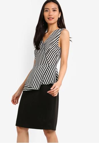 ZALORA 黑色 and 白色 條紋洋裝 0664AAA1E55EF9GS_1