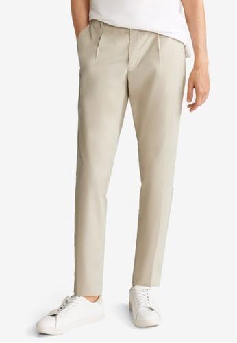 MANGO Man beige Pleated Slim Fit Chinos 041DAAAE34A460GS_1