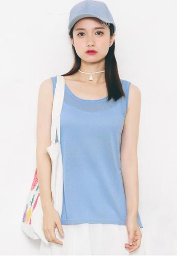Shopsfashion blue Pauline Knitted Blouse in Blue 3DA9DAAAA2AF60GS_1