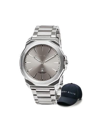 Perry Ellis silver Perry Ellis Decagon Men 46mm Quartz Stainless Steel Watch 05003-02 with Perry Ellis Cap 35CEEAC0ED5234GS_1