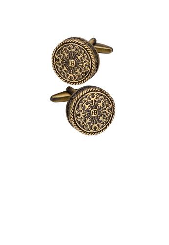 Glamorousky silver Vintage Elegant Plated Gold Roman Pattern Geometric Round Cufflinks 813EEAC68A62B1GS_1