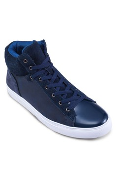 Mixed Material High Top Sneakers