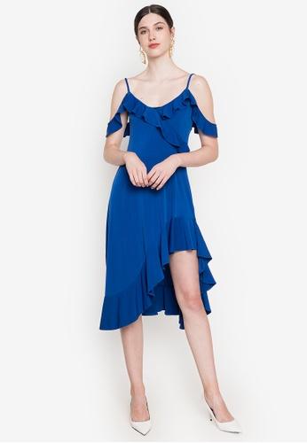 Ashley Collection blue Ruffle Cold Shoulder Asymmetric Dress 8EC20AA4225252GS_1
