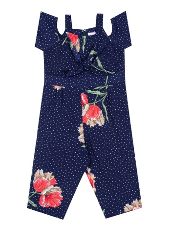 Mommy & Me by Great Kids multi Strappy, Square Neck Cold-Shoulder Jumpsuit 79419KA54D44A5GS_1