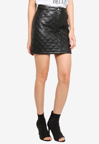 Miss Selfridge black Black Quilted PU Skirt 8A9D3AA7BB5AD0GS_1