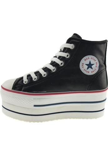 Maxstar 黑色 新款韩国鞋CN9-8H-TC時尚皮革布混合女黑色 US Women Size MA345SH86HJDTW_1