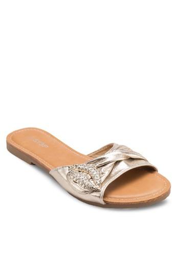 亮面閃石褶飾寬帶涼鞋, esprit outlet 台中韓系時尚, 梳妝