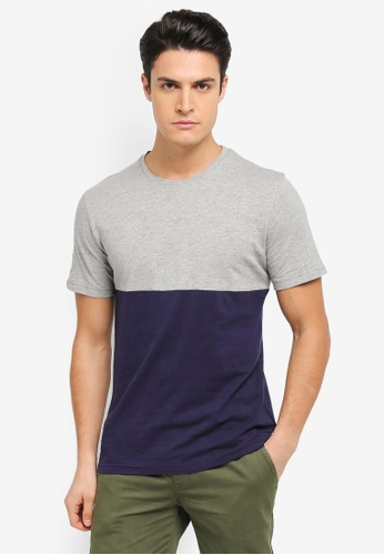 ZALORA grey and multi and navy Contrast Colour Slub Tee D04B8AACBE80D4GS_1