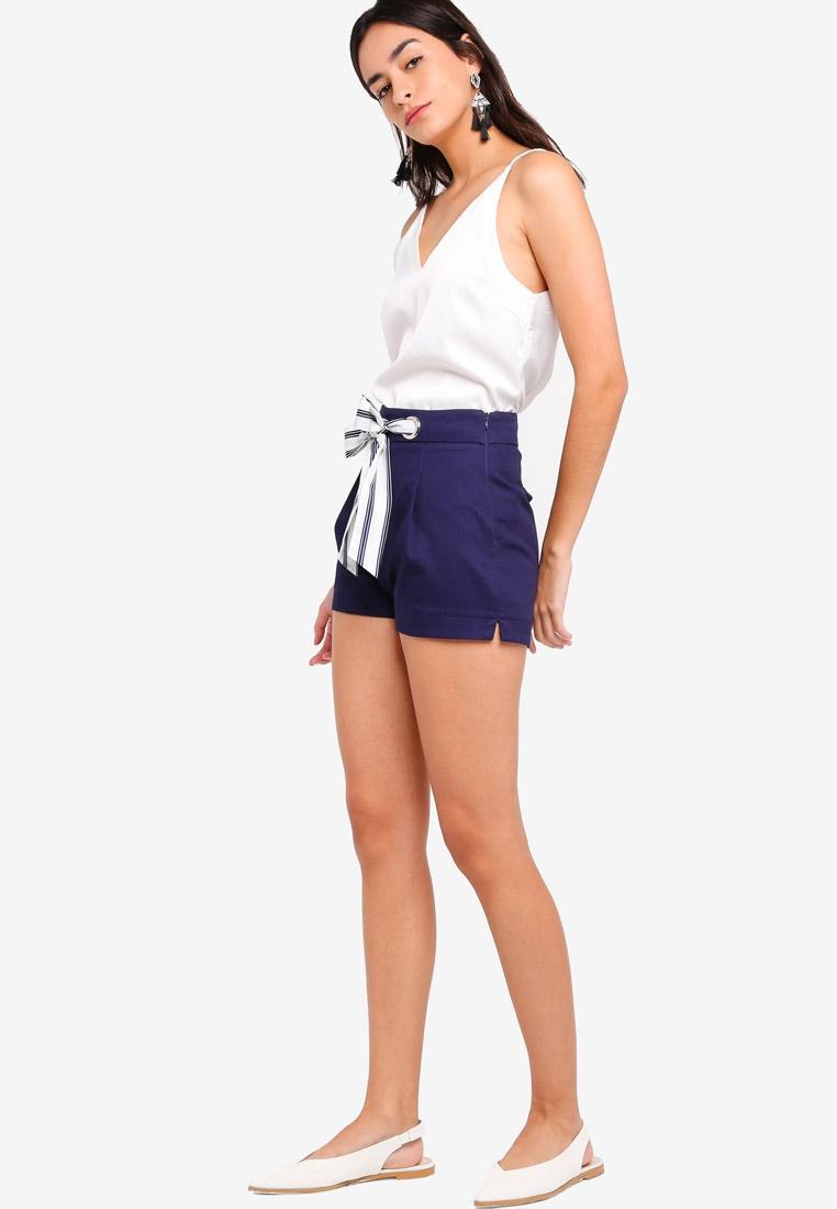 Navy Tie ZALORA ZALORA Front Shorts Tie fpwxBq8YY