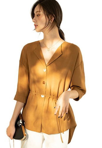 Sunnydaysweety yellow Light Mature V-Neck Mid-Sleeve Drawstring Waist Cardigan Top A21031204YE 55470AA9BC1868GS_1