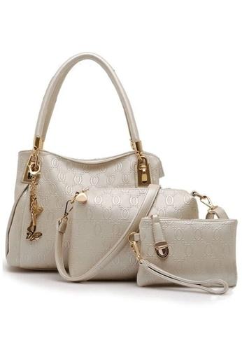 LULUGIFT white Set of 3 European design Leather Handbag white LU989AC31QLWMY_1
