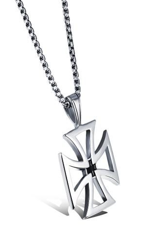 Sopistikada silver Grimm Cross Necklace SO776AC0JBSVPH_1