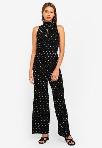 88e36dd9e87f Miss Selfridge black Black Spotted High Neck Jersey Jumpsuit  84D93AACBA91ECGS 1