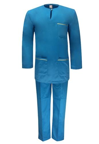 Pacolino blue Baju Melayu Teluk Belanga with pants For Kids - BM37015 (Light Blue) 3484BKA2DE029DGS_1