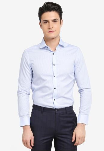 G2000 blue Pattern Cotton Long Sleeve Shirt 0249DAA7D505A0GS_1