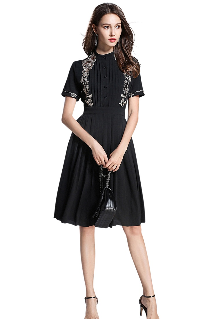 Sunnydaysweety Piece 2018 Dress Black CA071864BK Pleated New One Black f0w70Aq
