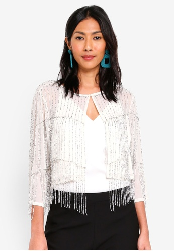 e0f8693ab66d07 Buy Miss Selfridge Embellished Fringe Cape Jacket Online on ZALORA ...