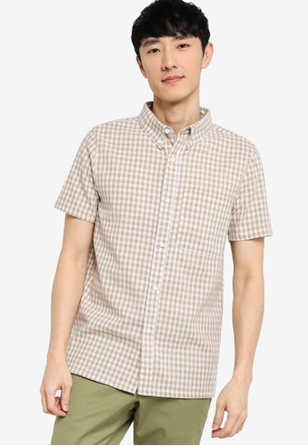 ZALORA BASICS multi Short Sleeve Checked Shirt 1FE8BAA7D3846DGS_1