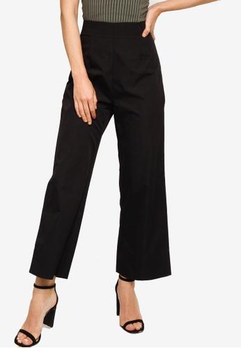 ZALORA WORK black High Waist Wide Leg Pants D9968AA4BE8A13GS_1