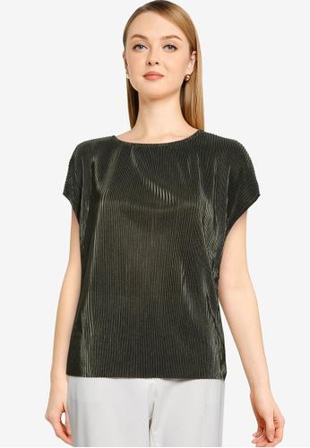 JACQUELINE DE YONG green Stone Plisse Short Sleeve Bat Sleeve Top E57F9AA2763D75GS_1