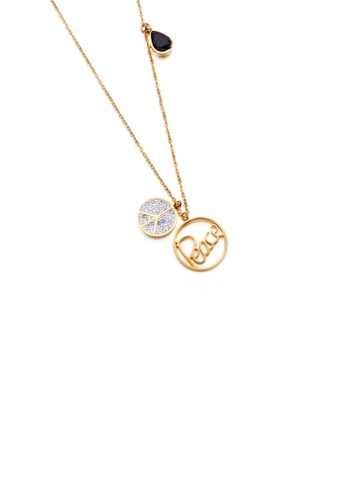 Glamorousky black Fashion and Simple Plated Gold Peace Double Round 316L Stainless Steel Pendant with Cubic Zirconia and Necklace E693DAC8921FC6GS_1