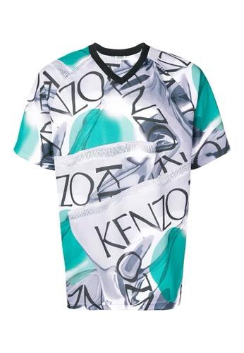 Kenzo multi Kenzo Loose-Fitting Sportswear T-Shirt in Dove Grey 9CA2EAA005C6D7GS_1