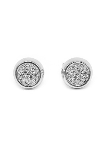 Silverworks silver Nealie Circle Silver Bezel Earrings with Zirconia Stones ED02FAC9D8402DGS_1
