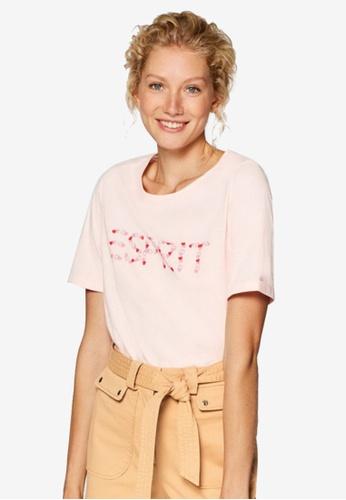 ESPRIT pink Short Sleeve Heart Brand Print T-Shirt 13E17AA521AA0BGS_1