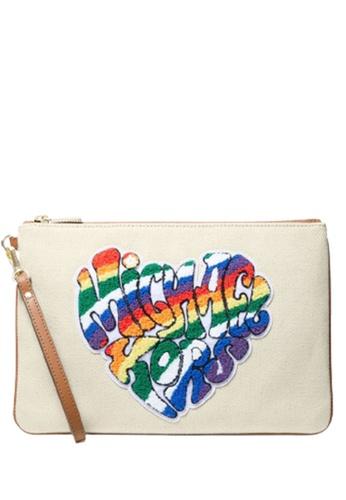 Michael Kors beige MICHAEL Michael Kors Large Pride Heart Logo Canvas Zip Pouch 8C64FAC6FB5E71GS_1