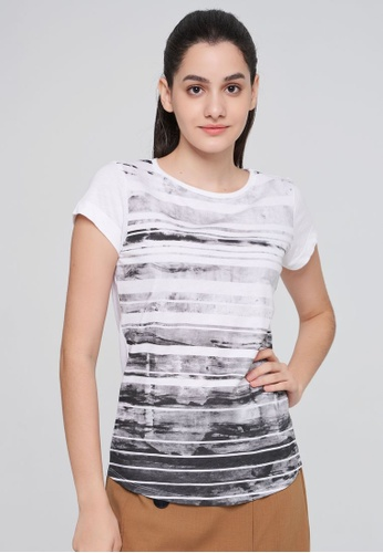 Sisley white Printed T-shirt AD450AA80ACE84GS_1