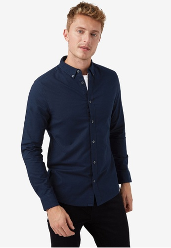 Burton Menswear London navy Long Sleeve Skinny Oxford Shirt F87E1AA3EB1CB9GS_1