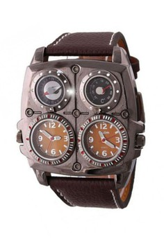 Oulm Square Oversize Multi Dial Time Zone Compass Watch