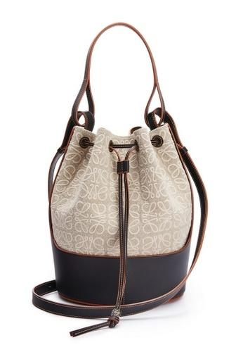 LOEWE beige Loewe Balloon Bucket Bag in Natural/Black 51544AC46F6594GS_1