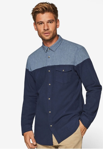 ESPRIT 海軍藍色 雙色長袖襯衫 42965AA5B5595CGS_1