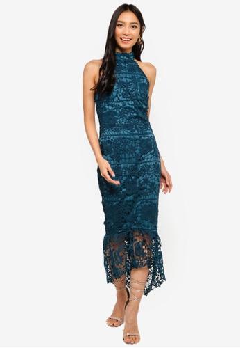 MISSGUIDED blue High Neck Lace Midi Dress A94C4AAD40E4BFGS_1