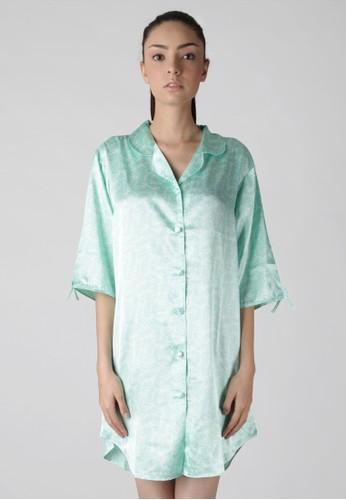 Impression 34 Sleeve Printed Satin Sleepshirt