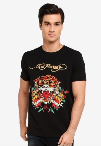 "Ed Hardy black ""Lavish Tiger"" Rhinestone Embroidered Round Neck Tee A7571AA93540D8GS_1"