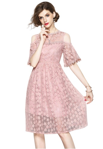 Sunnydaysweety pink New Lace Open Shoulder One Piece Dress CA071870-0PI 28227AAFE4B885GS_1