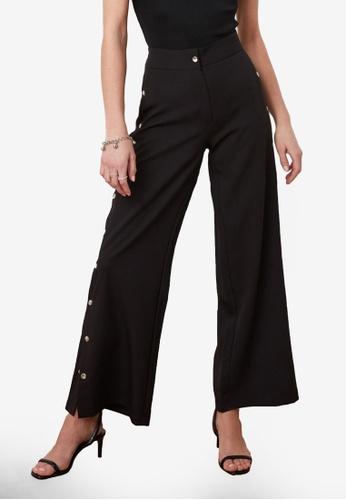 Trendyol 黑色 側Buttons High 腰圍 長褲 5E52BAA23F0C2DGS_1