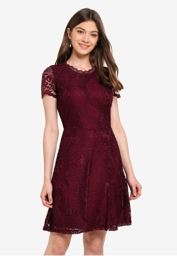 ONLY red Mystery Lace S/S Dress 55EE4AA4E86F77GS_1
