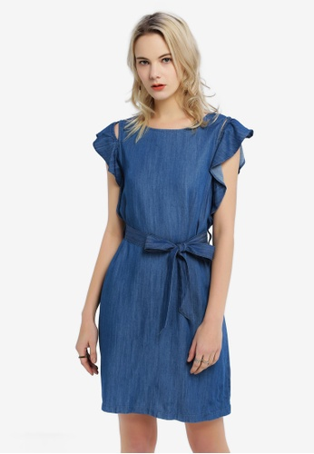 Hopeshow blue Flutter Sleeves Denim Dress 3F94DAA7FF5B1EGS_1