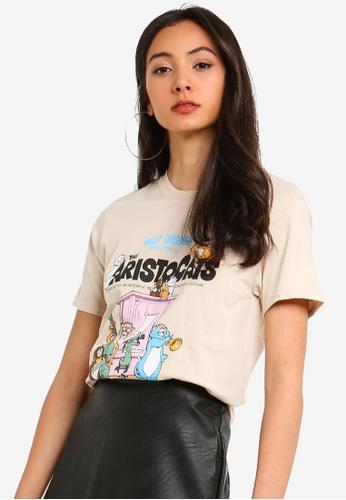 MISSGUIDED 米褐色 短袖印花T恤 A70F7AAB6225F1GS_1