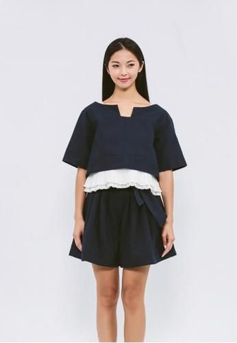 有機棉混紡深藍格紋短esprit門市上衣, 服飾, 短上衣