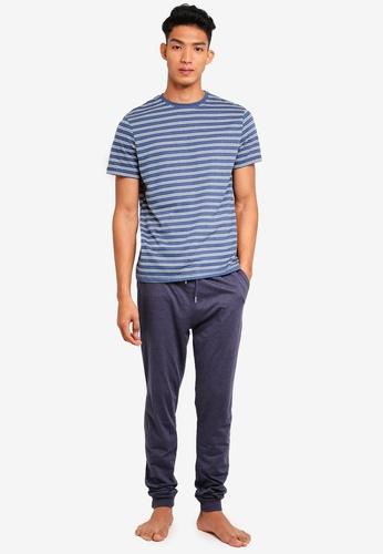 Burton Menswear London 海軍藍色 休閒印花睡衣組 F2D33AAAA62265GS_1