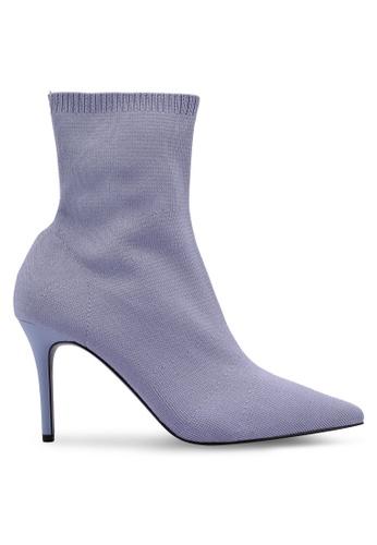 Mango 紫色 羅紋高跟踝靴 FE788SH868C2F1GS_1
